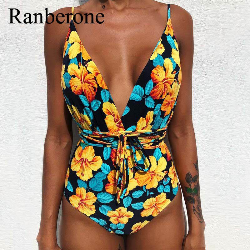 Closeout DealsNew Women Sexy Bikini One Piece Swimsuit Print Floral Retro Thong High Waist Bodysuit Backless High Cut Swimwear Deep V Suit