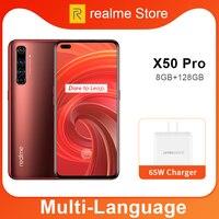 사전 판매 realme X50 Pro X50 5G 8GB 128GB 5.44 90Hz SuperAmoled 화면 Moblie 전화 금어초 865 핸드폰 65W Superdart 충전