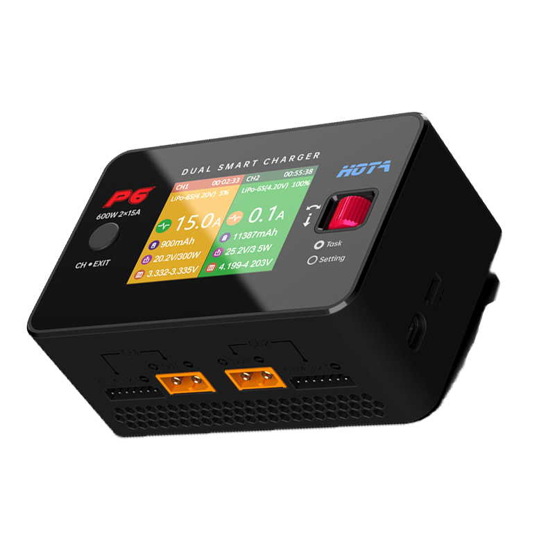 HOTA P6 DC600W 15AX2 DC Dual Channel Smart Charger Discharger for Lipo LiIon NiMH Battery RC Parts w/ Mobile Service Charging