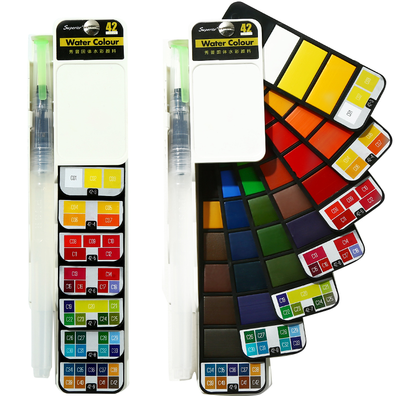 Superior 18/25/33/42 Color Solid Watercolor Set Collapsible Water Color Paint With Water Brush Pen art supplies for artist