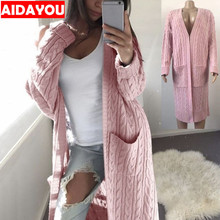 Womens Casual Cardigan Sweater Open Front Long Sleeve Knit r Coat with Pockets Boho Boyfriend Knit Chunky ouc586