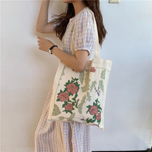 New Waterproof Canvas Casual Women Lady Casual Tote Eco Friendly Shopping Bag Soft Open Print Shoulder & Handbags(China)