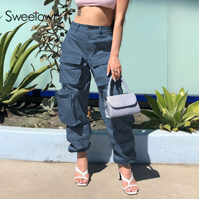 $ US $23.11 Sweetown Safari Style High Waist Streetwear Pants Women Pockets Patchwork Hippie Trousers Blue Solid Casual Baggy Cargo Pants
