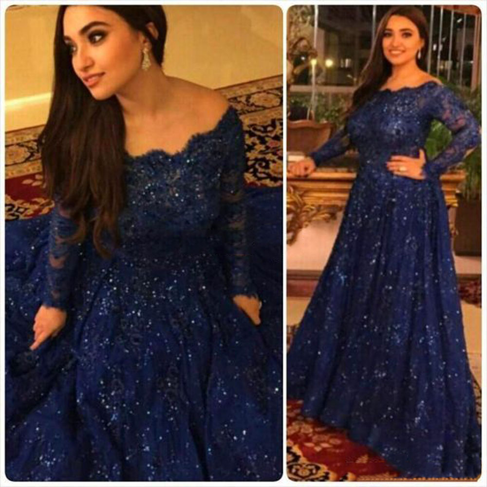 Fashion Dark Royal Blue Scoop Appliqued Beaded Bling Bling Long Sleeve A Line Evening Mother Of The Bride Dresses