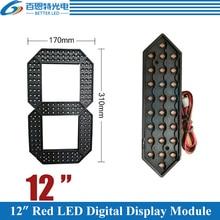 """10 개/몫 12 """"붉은 색 야외 7 7 세그먼트 LED 디지털 번호 모듈 가스 가격 LED 디스플레이 모듈"""