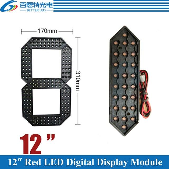 """10 قطعة/الوحدة 12 """"اللون الأحمر في الهواء الطلق 7 سبعة الجزء LED وحدة عدد الرقمية للغاز سعر LED وحدة العرض"""