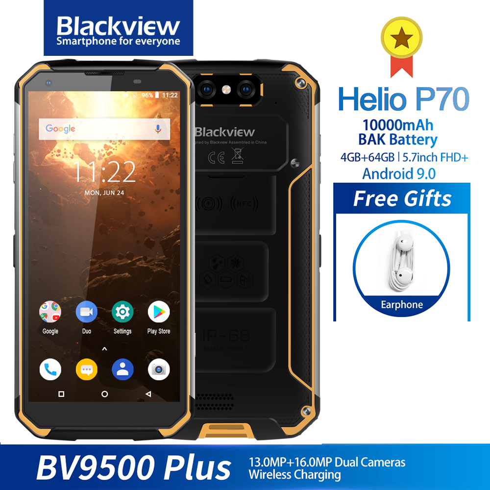 <font><b>Blackview</b></font> BV9500 Plus IP68 Waterproof Smartphone Helio P70 Octa Core <font><b>10000mAh</b></font> 5.7inch FHD 4GB + 64GB Android 9.0 Mobile phone image