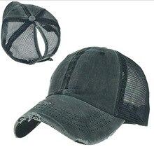 Ponytail Baseball Cap Solid Mesh Summer Hat For Women Gorras Casual Hip Hop Caps Bone Casquette