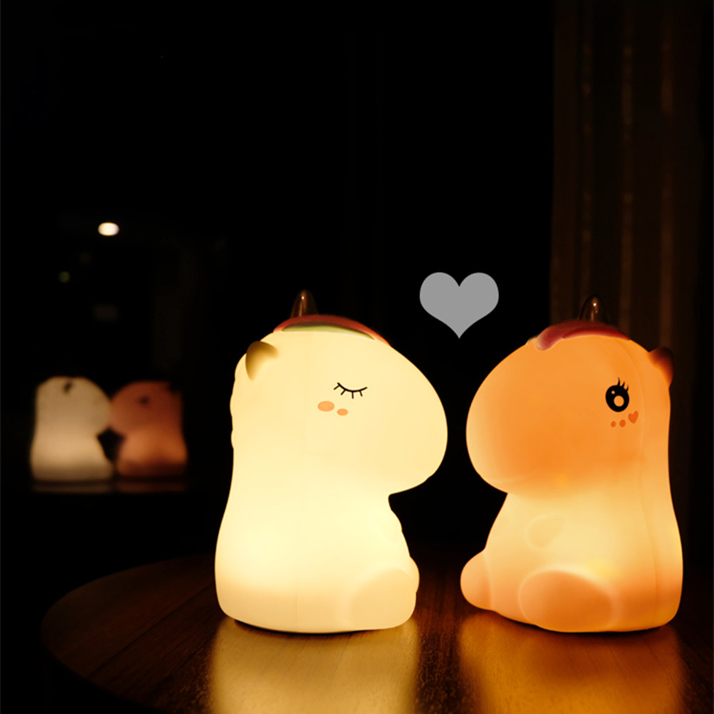 Unicorn LED Night Light Touch Sensor Colorful USB Rechargeable Cartoon Silicone Bedroom Bedside Lamp for Children