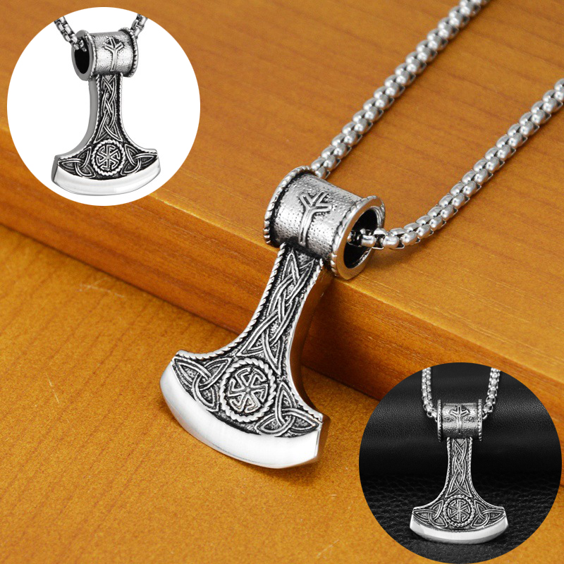 Norse Viking Battle Axe Pendant Necklace  Hiphop Stainless Steel Fashion Jewelry For Men Women