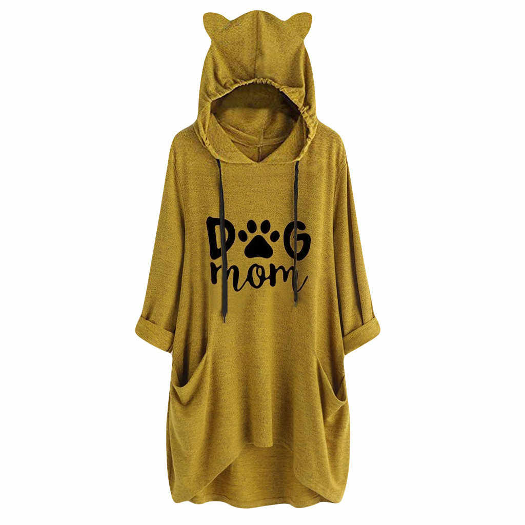 Kobiety pies mama druku T koszula z długim rękawem Cat Ear bluzy Tshirt panie nowy nieregularne cienki sweter Top Poleras Mujer de Moda 2019