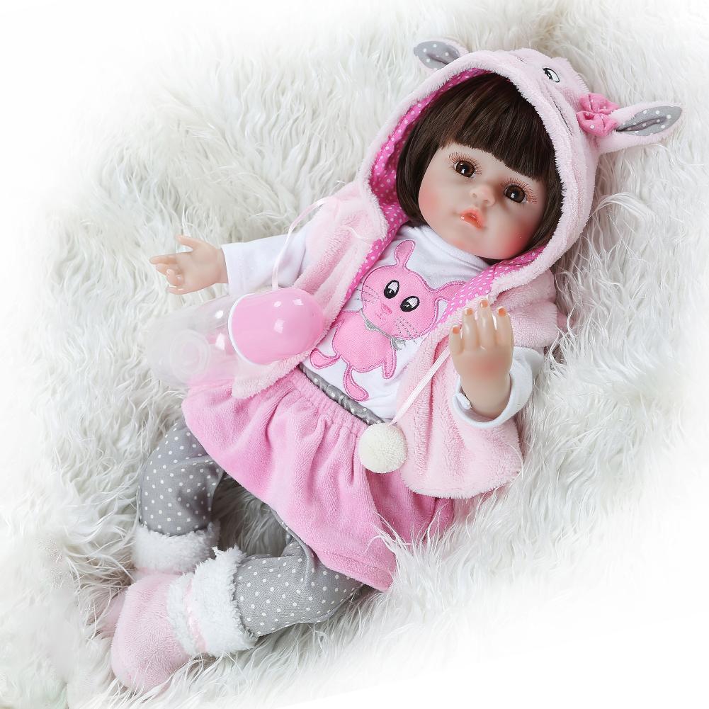 NPK bebes reborn poupée 48cm manteau lapin manteau réaliste Silicone accompagner jouet noël surprise cadeaux lol poupée filles cadeau nouveau