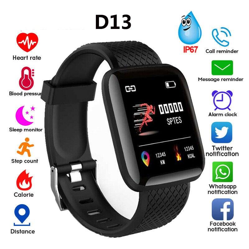 D13 Plus Heart Rate Blood Pressure Tracker Sport Band Bracelet Waterproof Fitness Adult LED English Silica Smart Watch Men