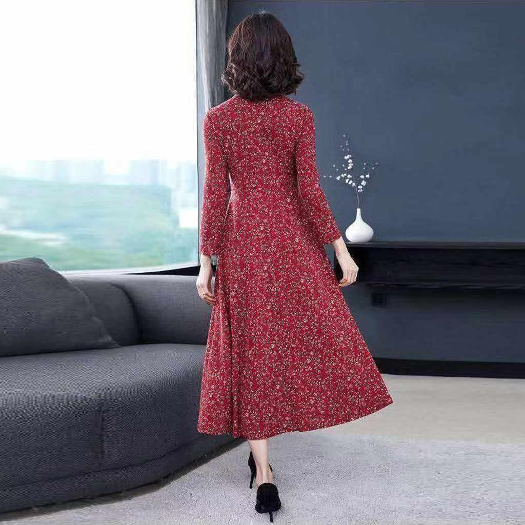 Çiçek baskılı elbise kadın rahat sonbahar kış o-boyun Vintage eğlence uzun kollu zarif klasik Maxi elbise elbise hiver femme