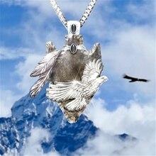 Personality Vintage  Geometric Pendant Set Gem Carving Feather Eagle Necklace Men Fashion Gothic Punk Jewelry vintage feather necklace