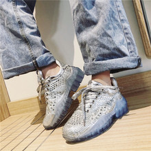 Fashion Crystal Chunky Sneakers For Women 2019 Autumn New Platform Rhinestone Casual Dad Shoes