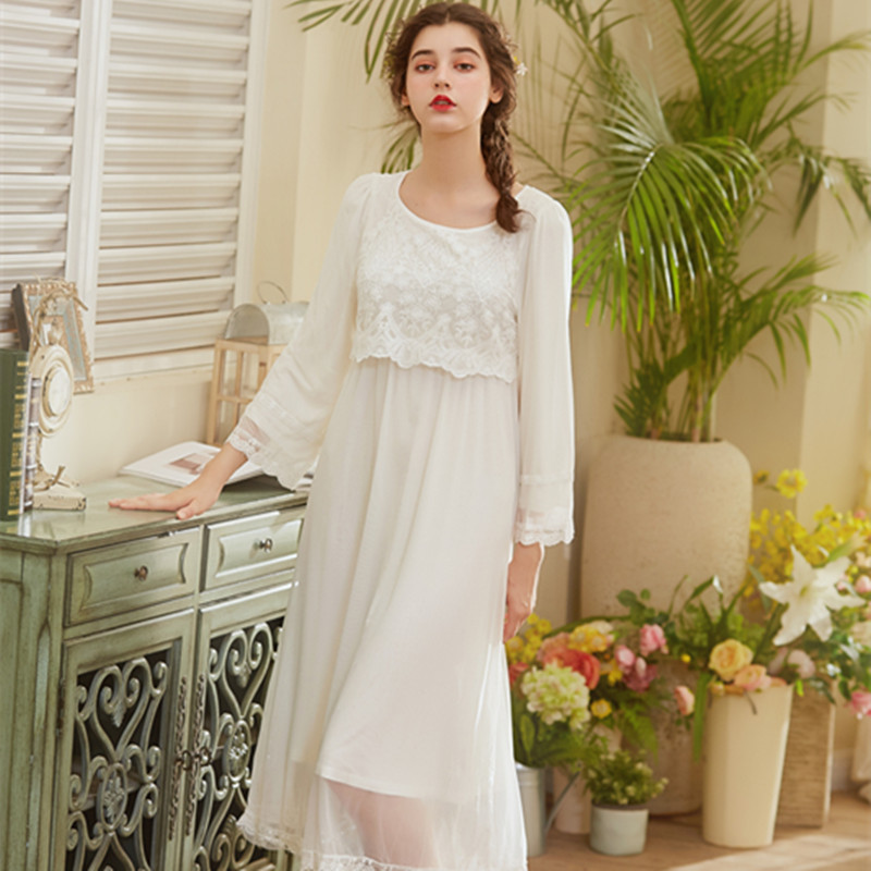 Spring New Palace Pyjama Womens Long Sleeve Sleepwear Cotton Sweet Mesh Girl Skirt Night Gown Goddess Pijama Home Nightgown