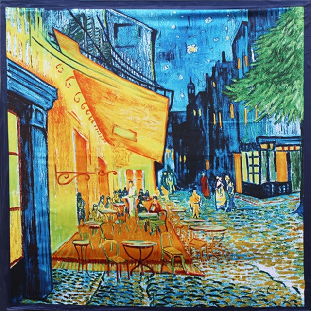 Van Gogh Oil Painting Real Silk Scarf Square 90*90cm Big Fashion Women Scarf Luxury Brand Designer Scarves Female Bandana Wraps