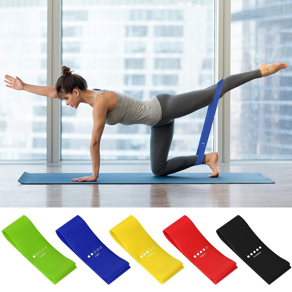 5pcs/set Workout Resistance Bands Loop Fitness Yoga Leg Strength Flexibility Exercise Band Elastic Stretch Strap