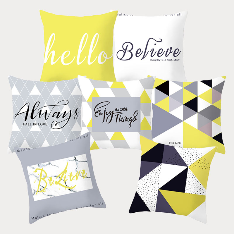 Nordic Simple Life Elk Geometric Pattern Pillowcases Yellow Black Grey Printed Polyester Cushion Cover Home Decor Pillowcover