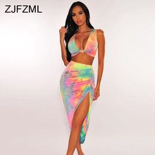 Rainbow Tie Dye Sexy Two Piece Skirt Set Women Clothes Backless V Neck Crop Top + Side Split Maxi Bandage Skirt Club Outfits marled knit crop top with split skirt