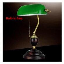 Ретро литературная настольная лампа изумрудно-зеленого стекла, настольные лампы, офисное освещение, ночное освещение, красное дерево, лампа для чтения книг
