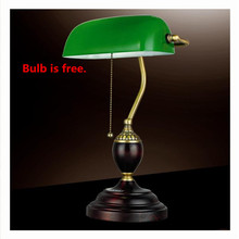 Retro Literary Table Lamp Emerald Green Glass Desk Lamps Office Luminaria de Mesa Night Lighting Red