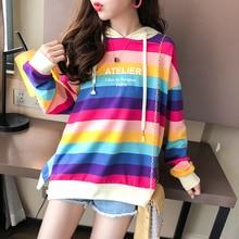 Milinsus Korean Style Women Pullover Hoodie Rainbow Stripes Oversized Sweatshirt Letter Print Autumn Winter 2019 ropa juvenil
