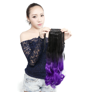 Neitsi 20'' Curly Wavy Ponytail Heat Resistant Synthetic Clip In Hair Extensions Ombre Color(China)