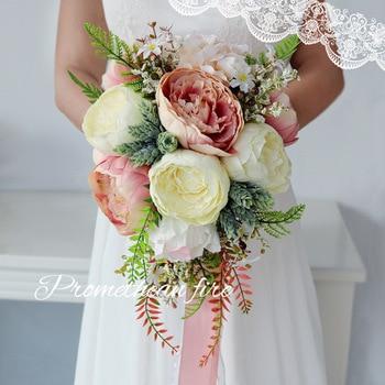 European Retro Bridal Bouquets Tear-Drop Shape Simulation Silk... Our Wedding Photo Home Decoration Wedding