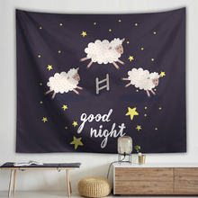 Cartoon Animals Wall Hanging Tapestry Sheep Cat Printed Polyester Cloth Tapestries Childrens Room Decoration Picnic Rug