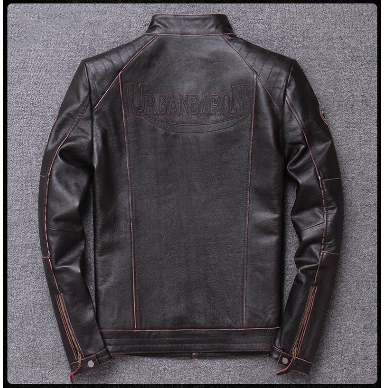 H32c9af73827545a3a16cde4341e461del 2019 Vintage Brown Men Slim Fit Motorcycle Leather Jacket Plus Size XXXXL Genuine Cowhide Spring Biker's Coat FREE SHIPPING