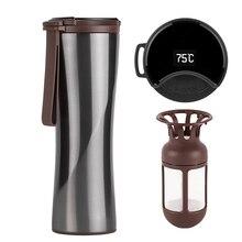 السفر القدح موكا الذكية قدح قهوة مقفل 430 مللي المحمولة زجاجة فارغة شاشة OLED تعمل باللمس الترمس الفولاذ المقاوم للصدأ فنجان القهوة