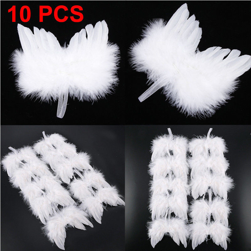 New 10Pcs Guardian Angel White Feather Wing Christmas Tree Hanging Ornament Decor White Feather Wing Party Wedding Hanging Decor