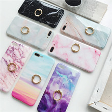 Marble Finger Ring Phone case For iphone XS Max X XR 8 7 6 6S Plus cases Texture Soft TPU IMD Back Cover case Coque Capa цена и фото
