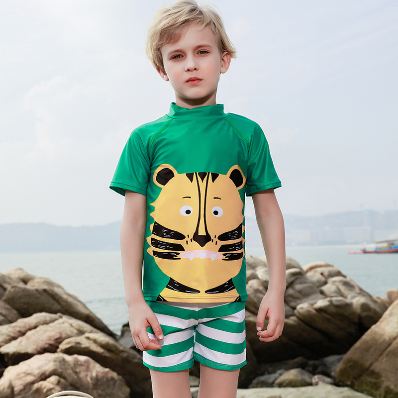 2019 New Style Japanese And South Korean Style Sun-resistant One-piece Swimming Suit Cartoon Tiger-CHILDREN'S Swimsuit Outdoor B