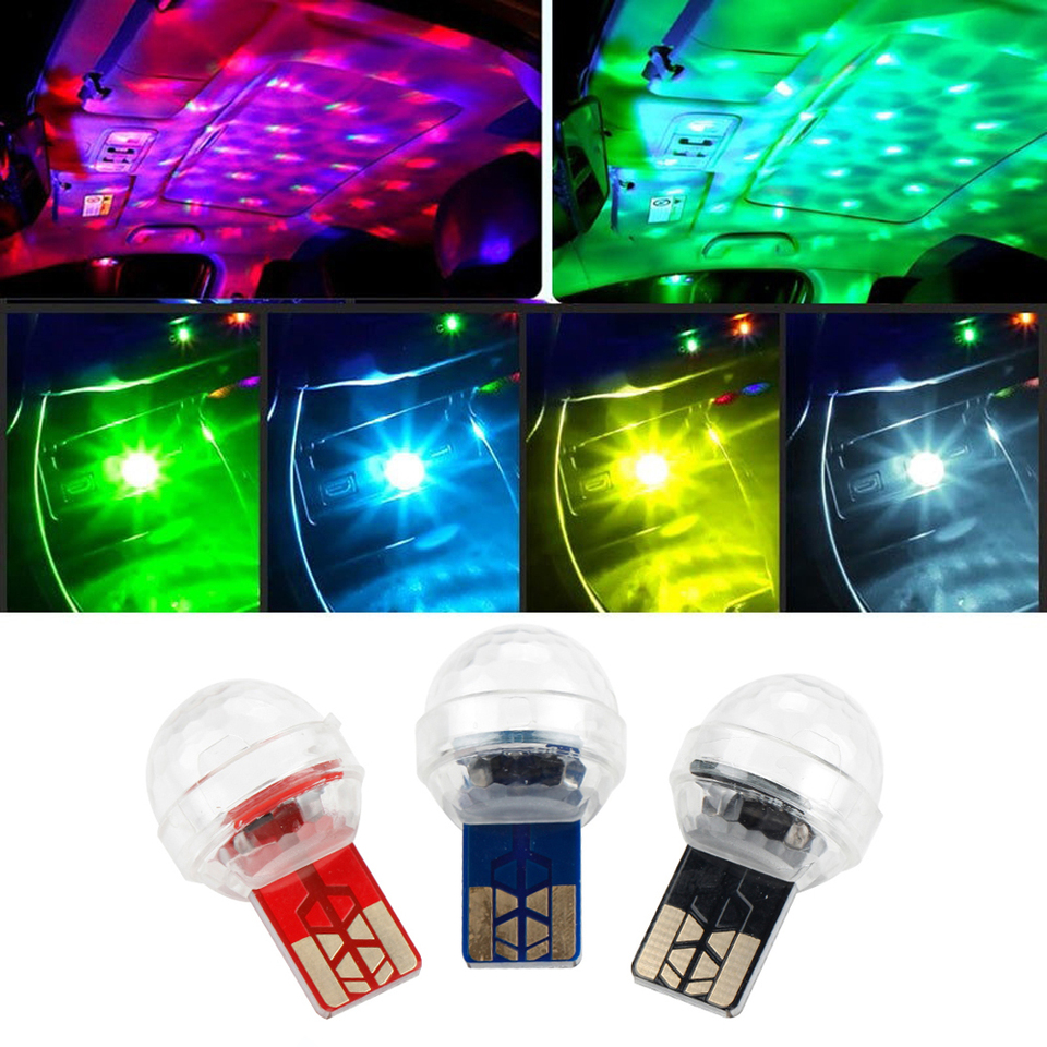Car USB Interior Atmosphere Neon Light Mini Colorful LED Decor Music Lamp