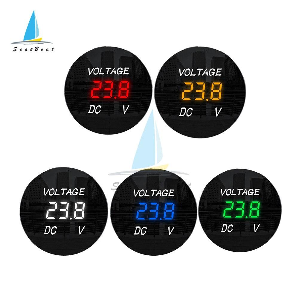 Rotondo Impermeabile Auto Barca Auto Moto DC5V-48V Pannello LED Digital Volt di Tensione del Tester del Tester Monitor Voltmetro 12V 24V