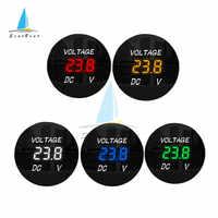 Round Waterproof Auto Boat Car Motorcycle DC5V-48V LED Panel Digital Volt Voltage Meter Tester Monitor Display Voltmeter 12V 24V
