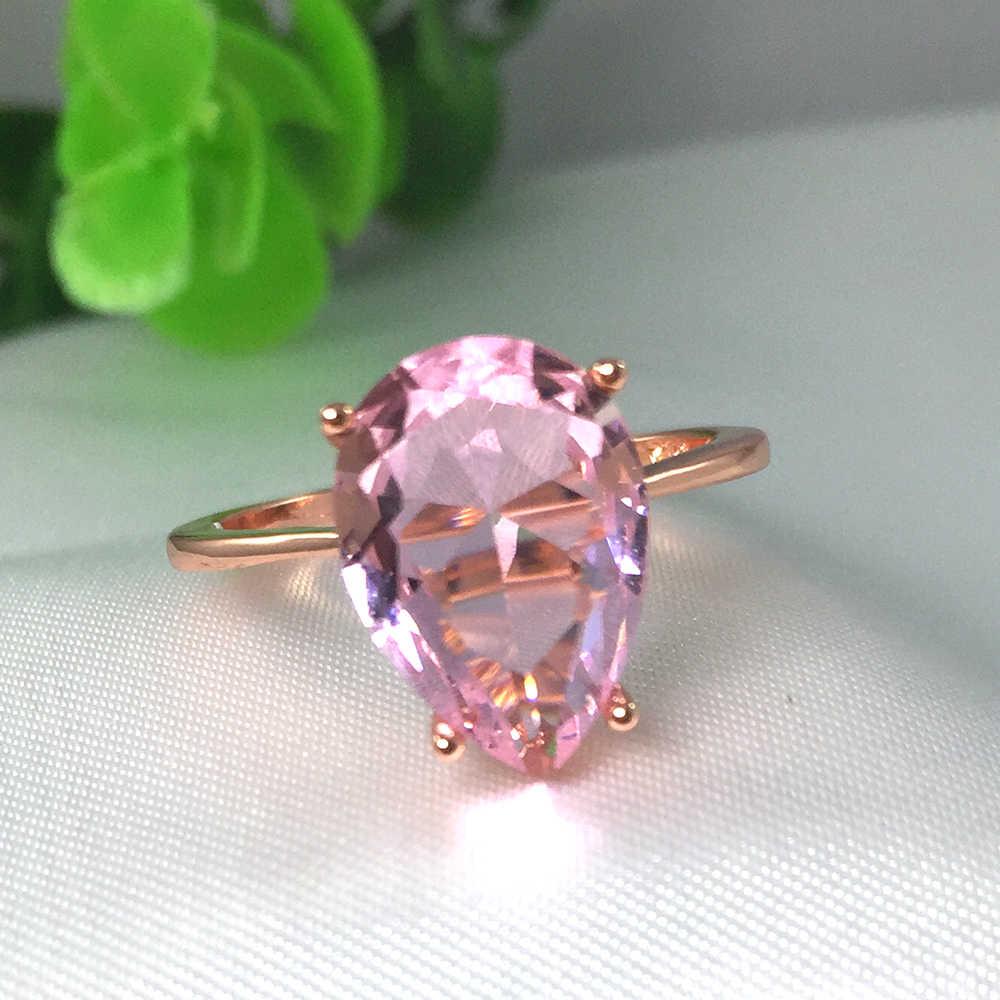 Water DROP Cubic Zircon Love งานแต่งงานแหวน Rose Gold สีคริสตัลสีชมพูหมั้นหญิงแหวนนิ้วมือหรูหรา 222
