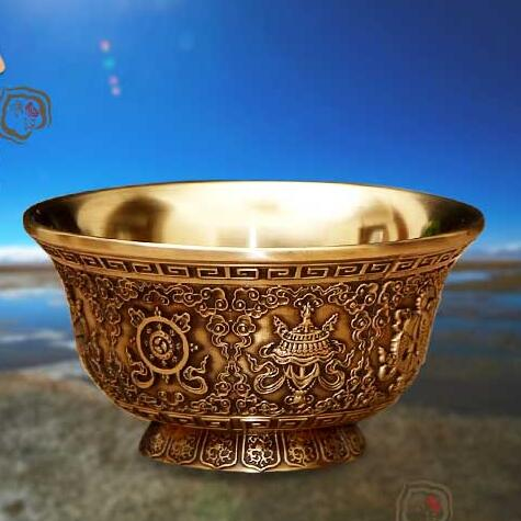 Buddha's Pure Copper Eight Auspicious Water Supply Cup Tibetan Water Supply Cup Tantric Buddhist Supplies Buddha Water Bowl