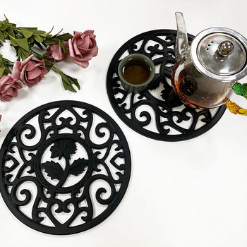 Flower Design Trivets Mats With Anti Scalding Silicon Pad For Dining And Kitchen Table