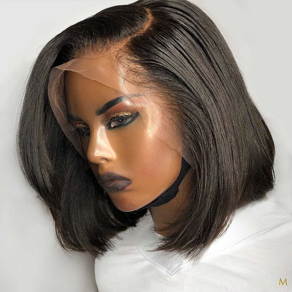 180% gęstość koronki przodu włosów ludzkich peruk dla czarnych kobiet 13x4 peruka z krótkim bobem Remy brazylijski naturalne wstępnie oskubane bielone węzłów