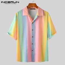 INCERUN Sommer Männer Hemd Bunte Gestreifte Kurzarm Revers Taste Bluse 2021 Mode Streetwear Casual Hawaiian Shirts S-5XL