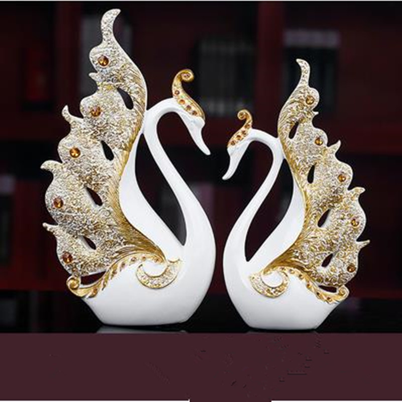 Resin swan crafts wedding gifts creative home decorations office creative desktop ornaments
