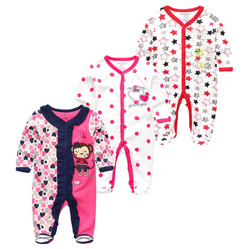 0-12Months Baby Rompers Newborn Girls&Boys 100%Cotton Clothes of Long Sheeve 1/2/3Piece Infant Clothing Pajamas Overalls Cheap - Baby Rompers RFL3126, 6M