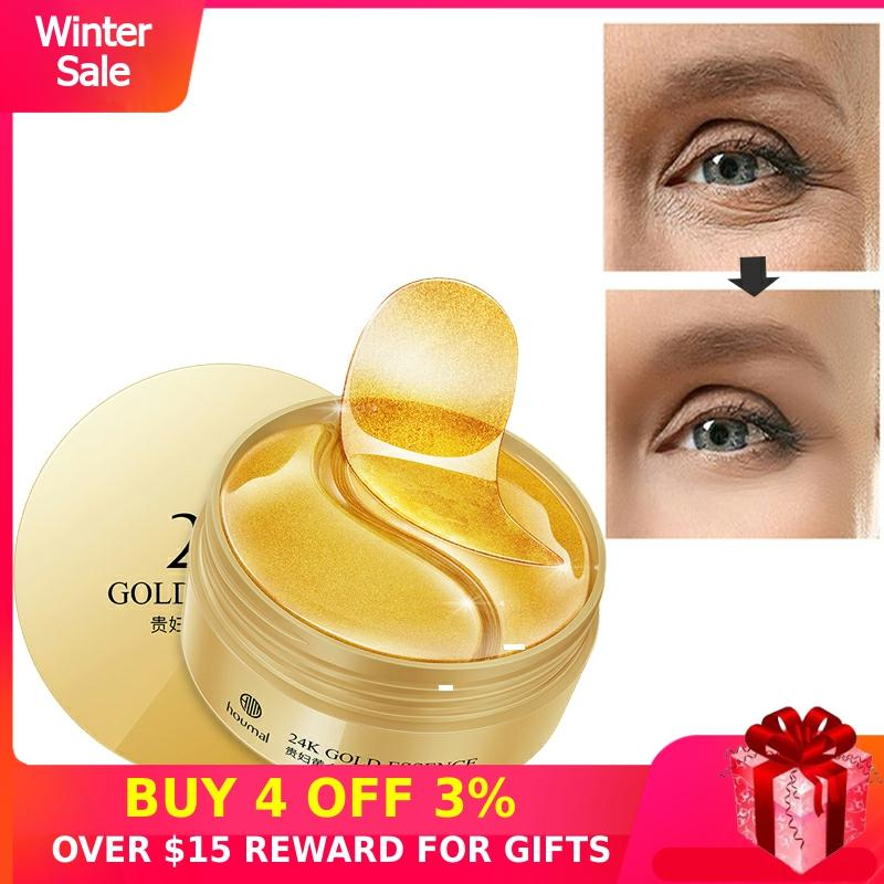 Anti Aging Eye Patch 24K Gold Dark Circles Collagen Hydrogel Eyes Mask Pads Drops Hydrogel Sleep Gel Patch Ageless Cream 60PCS P