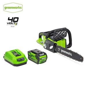 Greenworks 40v 4.0ah serra de corrente sem fio motor sem escova 20312 motosserra com 4.0ah bateria e carregador retorno livre