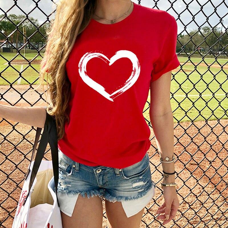 Camisetas de corazones para mujer, camisetas casuales Harajuku corazón impreso, camiseta de verano para mujer, camiseta de manga corta para mujer, ropa