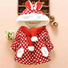 Kids Coats New Winter Overalls For Girls Cute Baby Rabbit Ears Hooded Polka Dot Warm Coat Jackets Outerwear Clothes